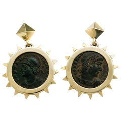 1884 Collection Ancient Roman Coin Yellow Gold Earrings