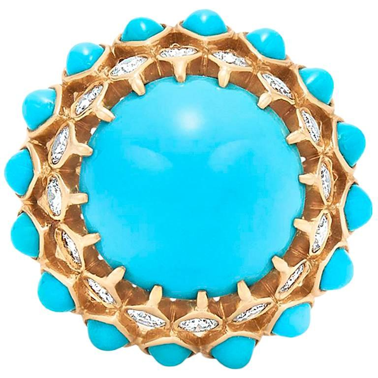 Cartier 1960s Turquoise Diamond Cocktail Ring For Sale