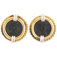 Ancient Roman Coin Clip Earrings