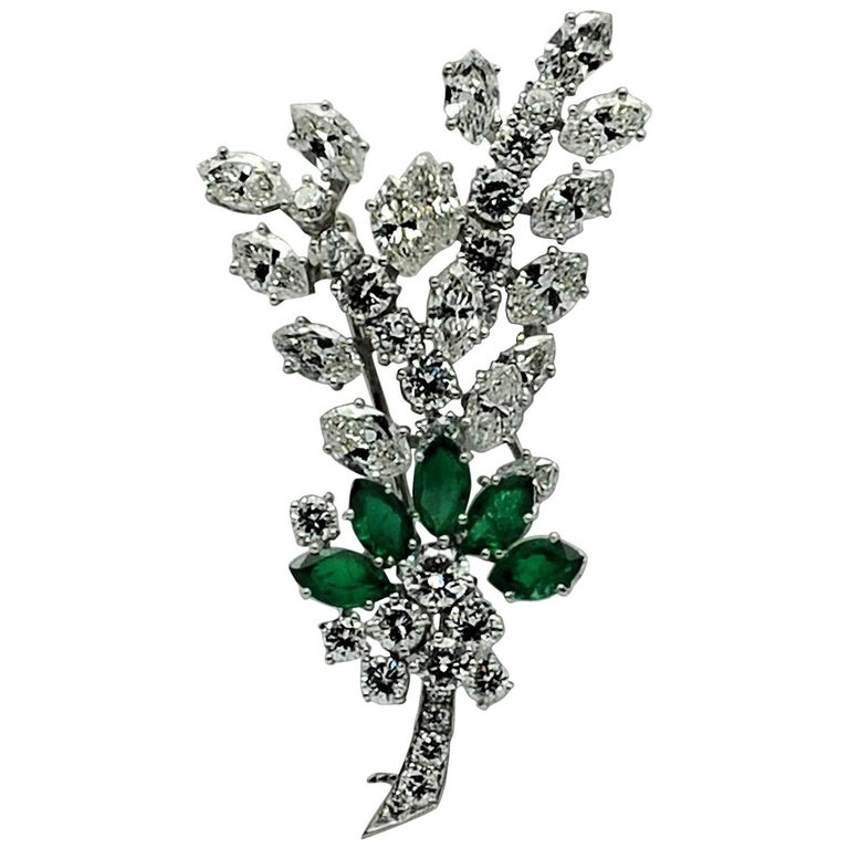 Tiffany & Co. Diamond Emerald Platinum Spray Brooch