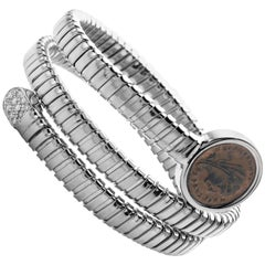 1884 Collection Tubogas Ancient Roman Coin Diamond Sterling White Coil Bracelet