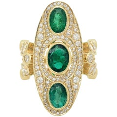 KC Sukamto Majeste Emerald Diamond Yellow Gold Cocktail Ring