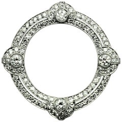 Art Deco Diamond Platinum Circle Brooch/Pin