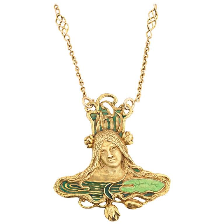 Art Nouveau Pendant and Chain