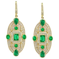 KC Sukamto Fideli Emerald Diamond Yellow Gold Drop Earring