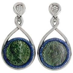 1884 Collection Ancient Roman Coin Sapphire Diamond Blue Titanium White Gold Ear