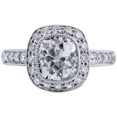 GIA Certified 2.05 Carat Old Mine Cushion Cut Diamond Platinum Engagement Ring