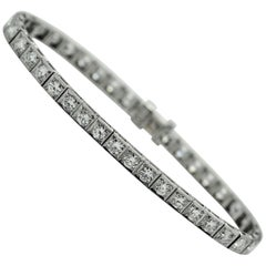 Long Diamond Art Deco Platinum Line Bracelet
