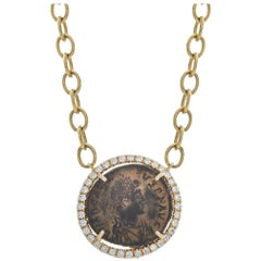 1884 Collection Ancient Roman Coin Diamond and Yellow Gold Pendant Chain Neck