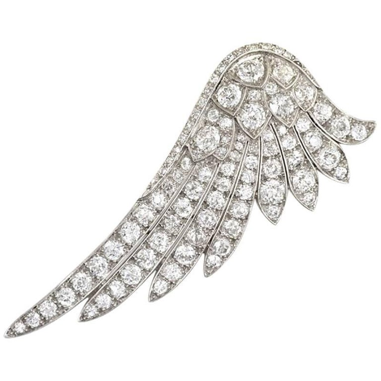 Art Deco Diamond Wing Brooch