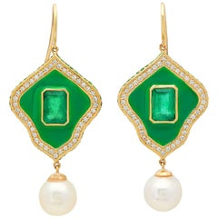 KC Sukamto Savas Emerald Diamond Pearl Drop Earring