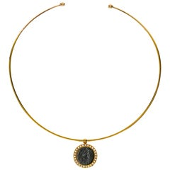 1884 Collection Ancient Roman Coin Diamond and Yellow Gold Pendant and Choker
