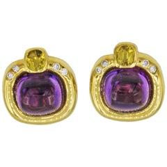 Amethyst & Yellow Sapphire Clip Earrings