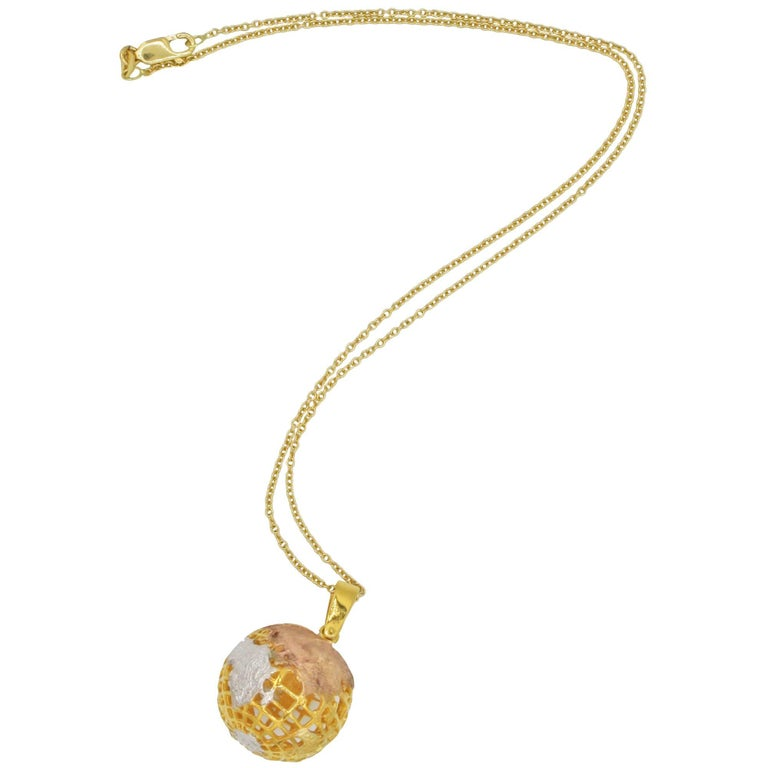 18k Yellow, Rose, and White Gold Globe Necklace, 1970s