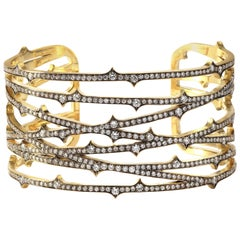 Sylva & Cie. Handmade Gold and Diamond Thorn Cuff