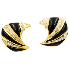 Black Onyx Diamond and Yellow Gold Clip Earrings