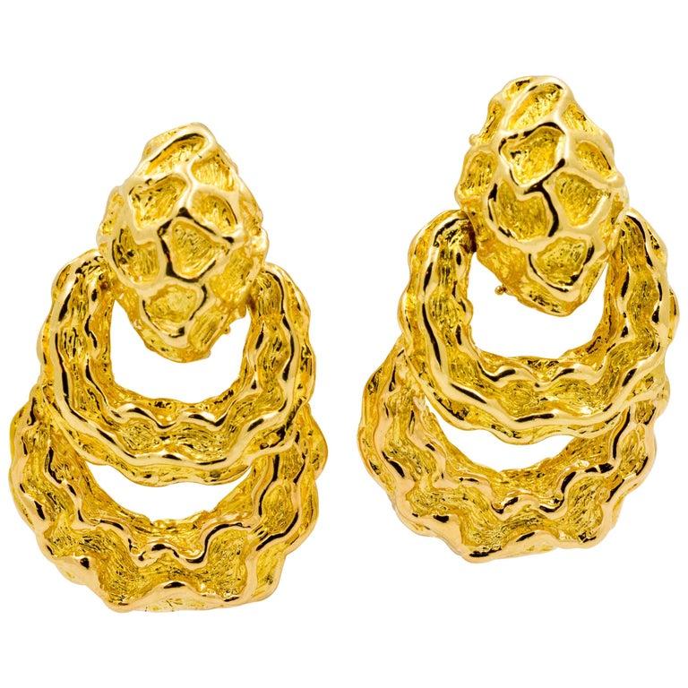 18 Karat Yellow Gold Door Knocker Style Earrings