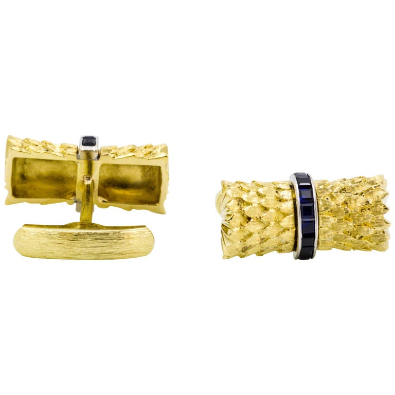 Sapphire and Yellow Gold Cufflinks For Sale