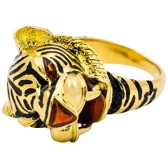 Yellow Gold and Enamel Tiger Head Ring