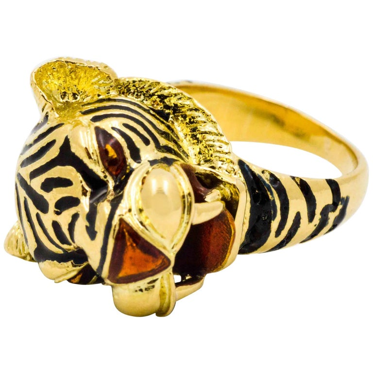 83c6a82b3 18 Karat Yellow Gold and Enamel Tiger Head Ring For Sale. This amazing life  like tiger head ring is crafted in 18kt yellow gold with beautifully  contrasting