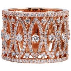 1.50 Carat Pave Diamond Geometric Rose Gold Ring