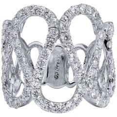 2.23 carat Diamond Loop Design 18 Carat White Gold Ring Size 6
