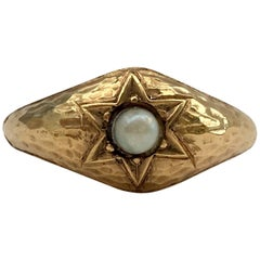 Antique Star Signet Ring Stellar Celestial Pearl 18 Carat Textured Hammered Gold