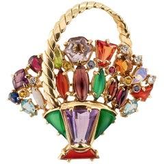 1950s Color Gemstone Diamond Gold Basket Brooch/Pendant
