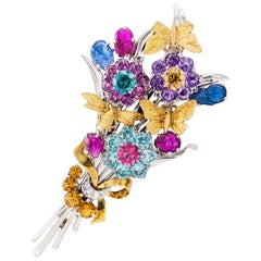 Retro 1940s Gemstone Gold Flower Bouquet Brooch