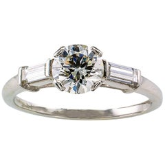 1950s 0.78 Carat Diamond Platinum Engagement Ring