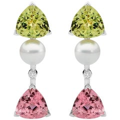 Diamond and Tourmaline Stud Drop Earrings