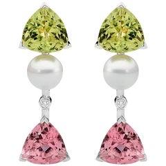 41.96 Carat Green and Pink Tourmaline, Diamond and Pearl Stud Drop Earrings