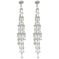 4.25 Carat White Diamond Dangle Chandelier Earrings, White Gold