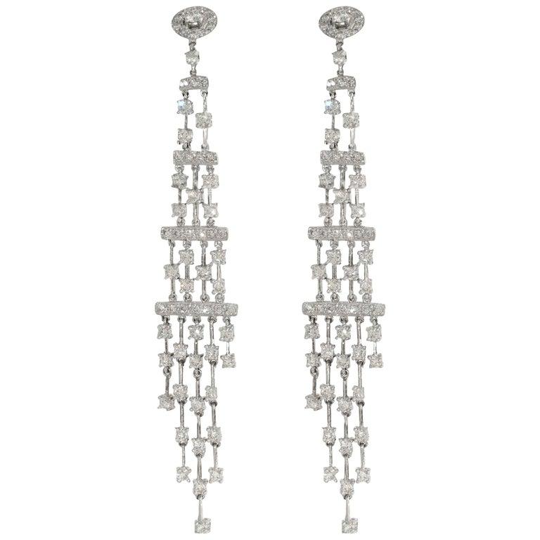 4.25 Carat White Diamond Dangle Chandelier Earrings, White Gold