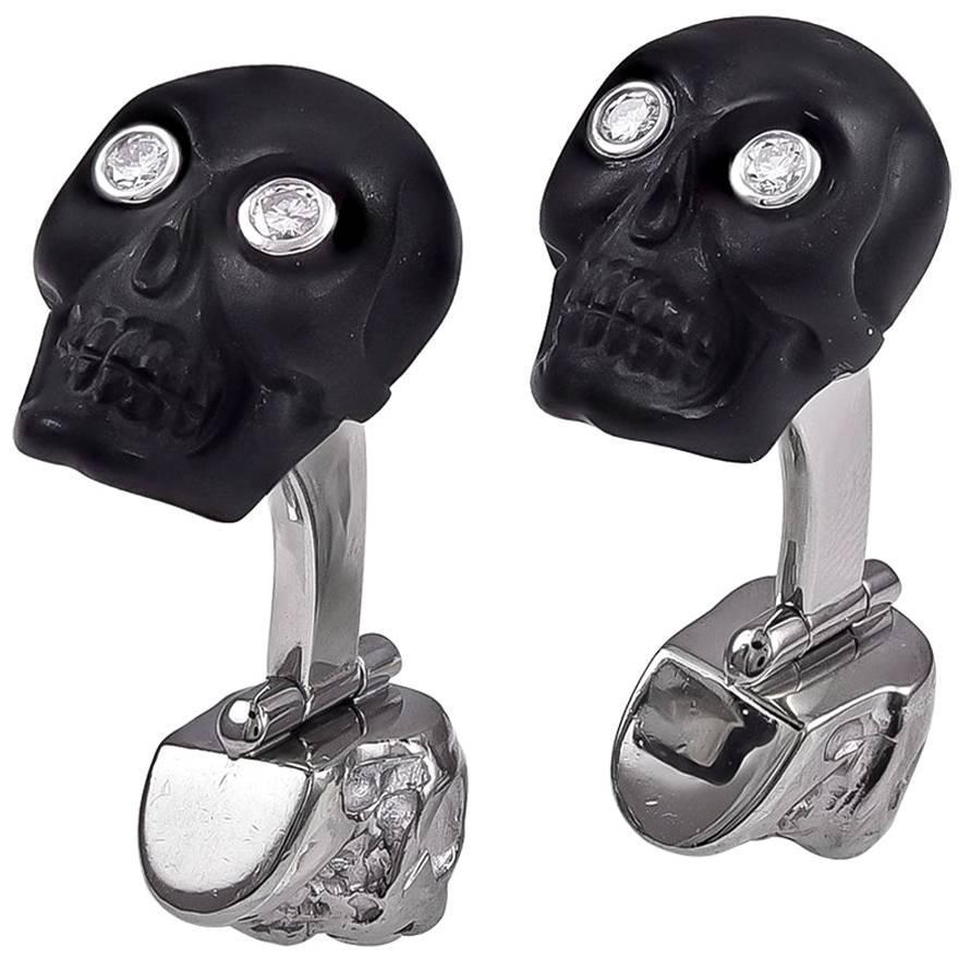 White Gold Onyx Diamond and Ruby Skull Cufflinks