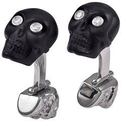 White Gold Onyx Diamond and Ruby Skull Cufflinks