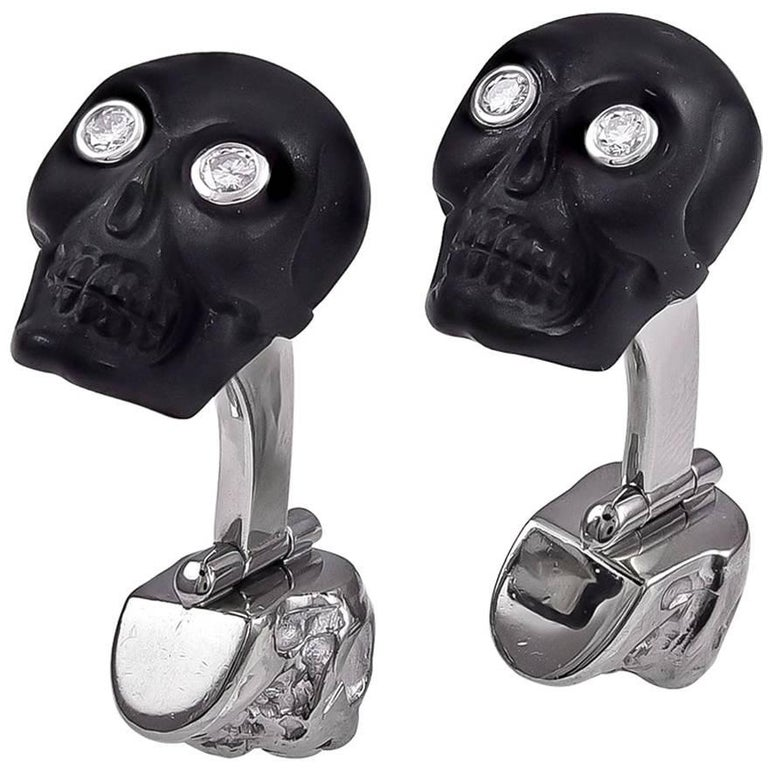 White Gold Onyx Diamond and Ruby Skull Cufflinks For Sale