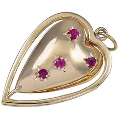 Gold and Ruby Spinning Heart Charm/Pendant