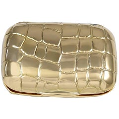 Crocodile Patterned Gold Pill Box