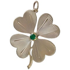 Large Gold and Emerald Four-Leaf Clover Pendant/Charm
