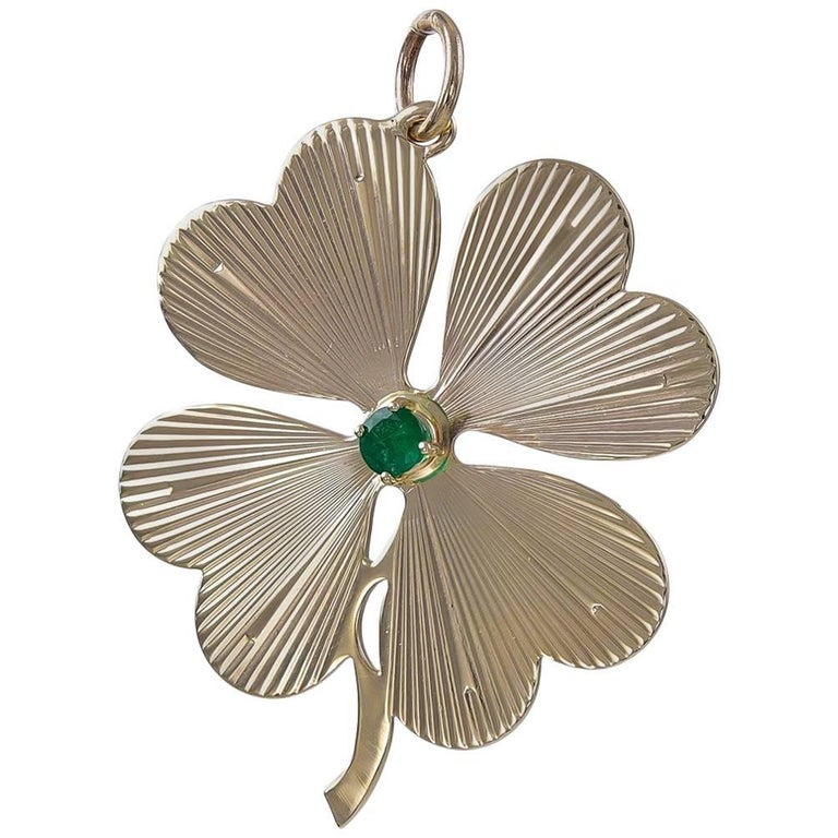 Large Gold And Emerald Four Leaf Clover Pendant Charm