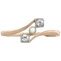 1900s Seed Pearl and Diamond Yellow Gold Twist Ring