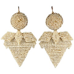 Georgian 22 Karat Seed Pearl Girandoles Southern Italy Earrings