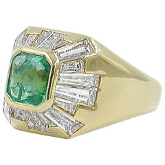 Emerald 1.10 Baguette Diamonds 2.80 Yellow Gold Pinky Ring