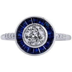 H & H  0.63 Carat Diamond Sapphire Platinum Ring