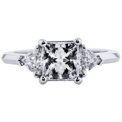 H & H 1.51 Carat Square Modified Brilliant Cut Diamond Engagement Ring