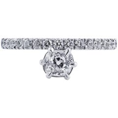 H & H 0.61 Carat Antique Cushion Cut Diamond Engagement Ring