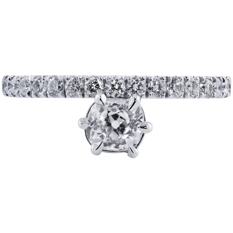 H&H 0.61 Carat Solitaire Antique Cushion Cut Diamond with Pave Band Ring For Sale