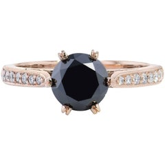 H&H 1.42 Black Diamond Engagement Ring 18 Karat Rose Gold
