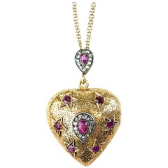 Ruby and Diamond Gold Heart with Stars Locket